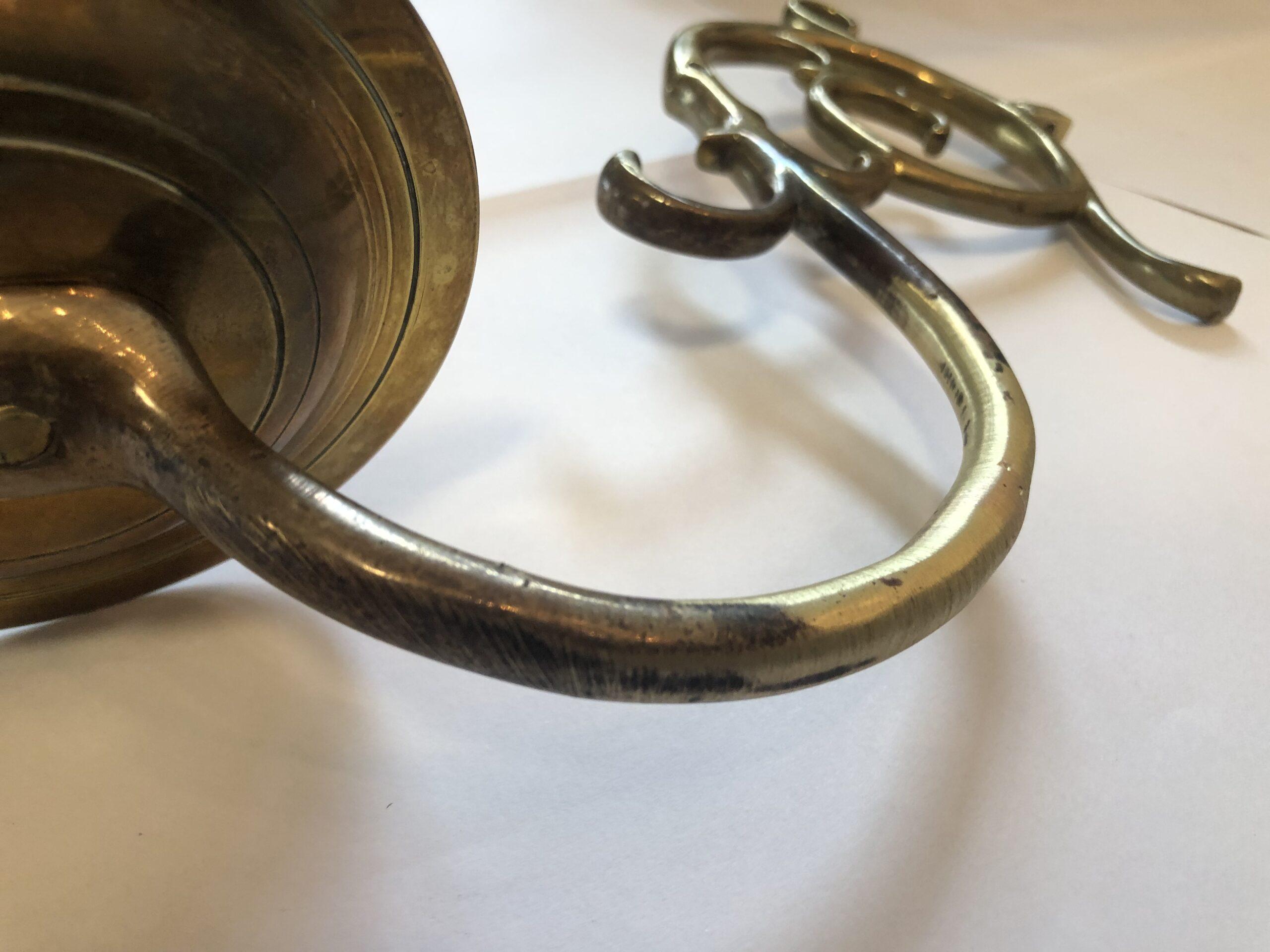Restauratie kroonluchter Arm na modelleren en slijpen, vóór polijsten
